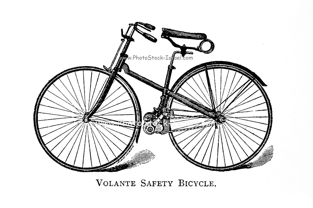 Volante Safety Bicycle From Wheels and Wheeling; An indispensable handbook for cyclists, with over two hundred illustrations by Porter, Luther Henry. Published in Boston in 1892