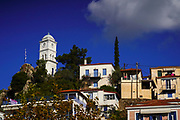 townscape of Poros a small Greek island-pair in the southern part of the Saronic Gulf, Greece
