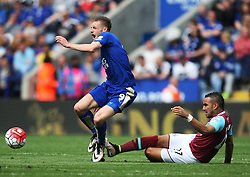 Dimitri Payet of West Ham United (R) fouls Jamie Vardy of Leicester City - Mandatory by-line: Jack Phillips/JMP - 17/04/2016 - FOOTBALL - King Power Stadium - Leicester, England - Leicester City v West Ham United - Barclays Premier League