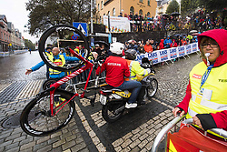 September 20, 2017 - Bergen, NORWAY - 170920 The motorcycle supporting Tony Martin of Germany (not pictured) on it's way up Mount FlÂ¿yen during the Men Elite Individual Time Trial on September 20, 2017 in Bergen..Photo: Jon Olav Nesvold / BILDBYRN / kod JE / 160023 (Credit Image: © Jon Olav Nesvold/Bildbyran via ZUMA Wire)