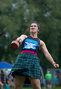 Heather Allen throws a weight as she competes in the Highland Games at the Scottish Festival in Payson, Utah  Saturday July 13, 2019. The Festival is one of the biggest celebrations of Scottish heritage and culture in the west. The festival features traditional dances, clan reunions, and a bagpipe competition.