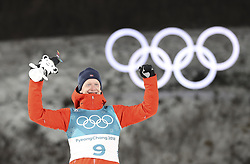PYEONGCHANG, Feb. 15, 2018  Norway's Johannes Thingnes Boe celebrates during venue ceremony of  men's 20km individual event of biathlong at 2018 PyeongChang Winter Olympic Games at Alpensia Biathlon Centre, PyeongChang, South Korea, Feb. 15, 2018. Johannes Thingnes Boe claimed champion in a time of 48:03.8. (Credit Image: © Bai Xuefei/Xinhua via ZUMA Wire)