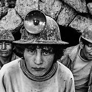 Silver miners in the Cerro Rico of Potosí. Bolivia.