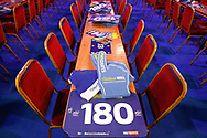 General stadium view inside Alexandra Palace showing seating and William Hill Sky Sports merchandising / fan kits before the World Championship Darts 2018 at Alexandra Palace, London, United Kingdom on 17 December 2018.