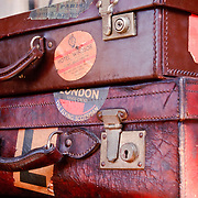 Suitcases at an antique market.