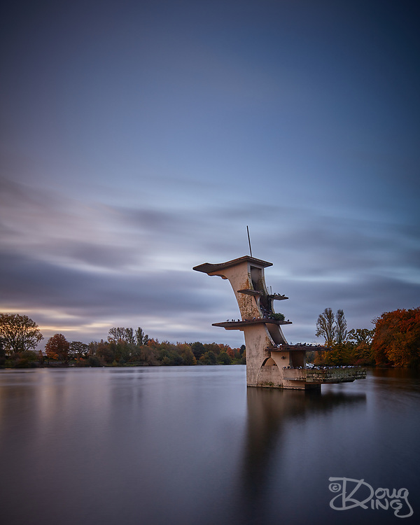 The abandoned concrete diving structure at Coate Water lake near Swindon, photographed in dawn light.