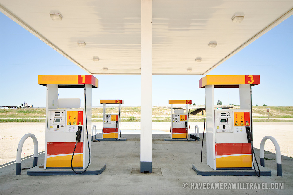 A deserted gas (petrol) station