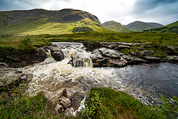 View of River Etive in Glen Etive, Highland Region, Scotland, Uk