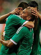 May 31, 2013; Houston, TX, USA; Mexico forward Javier Hernandez (14) celebrates scoring his second goal with defender Carlos Salcido (3) against Nigeria during the second half at Reliant Stadium. Nigeria and Mexico played to a 2-2 draw. Mandatory Credit: Thomas Campbell-USA TODAY Sports