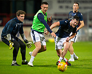 06/10/2020: Dundee FC train at Kilmac Stadium after their Betfred Cup match against Forfar Athletic was postponed due to a positive COVID test result for one of the Forfar players: Danny Mullen battles for the ball with Jordan Marshall as Jack Hamilton and Cammy Kerr watch   <br /> <br /> <br />  :©David Young: davidyoungphoto@gmail.com: www.davidyoungphoto.co.uk