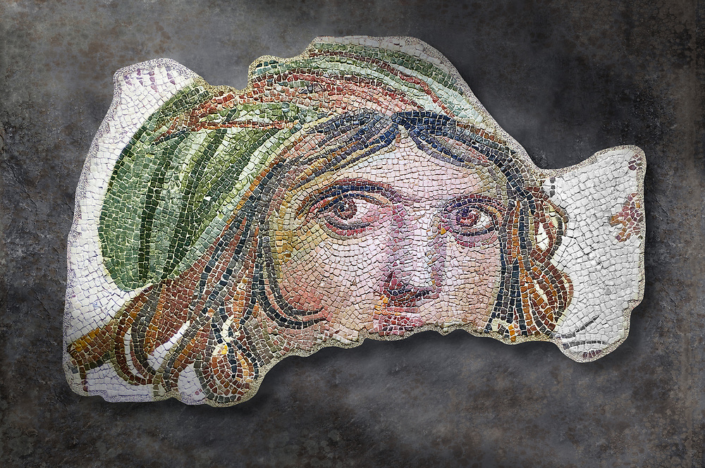 Roman mosaics - The Gypsy Girl. The House of Menad. Ancient Zeugama, 2nd - 3rd century AD . Zeugma Mosaic Museum, Gaziantep, Turkey..   Wall art print by Photographer Paul E Williams If you prefer visit our World Gallery Print Shop To buy a selection of our prints and framed prints desptached  with a 30-day money-back guarantee and is dispatched from 16 high quality photo art printers based around the world. ( not all photos in this archive are available in this shop) https://funkystock.photoshelter.com/p/world-print-gallery .<br /> <br /> USEFUL LINKS:<br /> Visit our other HISTORIC AND ANCIENT ART COLLECTIONS for more photos to buy as wall art prints  https://funkystock.photoshelter.com/gallery-collection/Ancient-Historic-Art-Photo-Wall-Art-Prints-by-Photographer-Paul-E-Williams/C00002uapXzaCx7Y