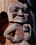 Beaver Crest Pole, carved in 1987 by Nisga'a artists Norman Tait, Isaac Tait, Robert Tait and Ron Telek and on display at Stanley Park, Vancouver, British Columbia, Canada.