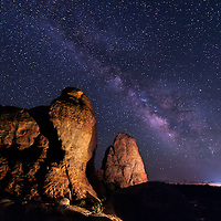 Light painting was used to illuminate the rocks near North Window Arch wiith the Milky Way visible in the sky.