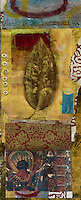 Mixed media art collage with leaf and ancient indian mural.