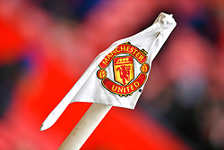 A general view of a Manchester United flag at Old Trafford