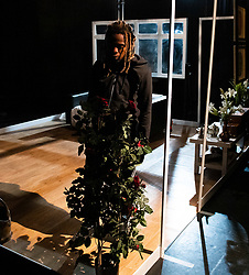 The Removal Service <br /> By Will Pattle and Alice Briganti <br /> Directed by Luke Adamson<br /> Presented by OVO<br /> At The Maltings Theatre, St. Albans, Hertfordshire, Great Britain <br /> Rehearsal / press photo call <br /> 12th March 2021 <br /> <br /> Live stream:<br /> Saturday 13th March 2021 at 7.30pm<br /> <br /> Recording available to stream:<br /> Sunday 14th to Saturday 27th March 2021<br /> <br /> <br /> CHICHO TCHE as Zeek<br /> <br /> <br /> Set design by Simon Nicholas<br /> Costume design by Delga Martineau<br /> Lighting design by Adam Bottomley<br /> <br /> Photograph by Elliott Franks