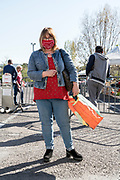 outdoors farmers market food shopper during the Covid 19 crisis Limoux France April 2020