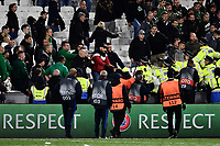 Football - 2021 / 2022 UEFA Europa League - Group H - Round Two - West Ham United vs Rapid Vienna - London Stadium - Thursday 30th September<br /> <br /> Police attempt to clear Rapid Vienna fans after the game.<br /> <br /> COLORSPORT/Ashley Western