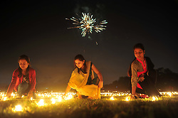 October 29, 2016 - Allahabad, Uttar Pradesh, India - People light oil lamps after track pujan ceremony on the occasion of Diwali festival in Allahabad. (Credit Image: © Prabhat Kumar Verma/Pacific Press via ZUMA Wire)