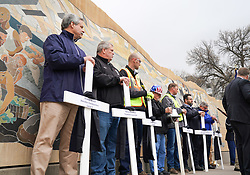 April 29, 2019 - Minnesota, USA - Seven workers fallen workers were remembered on this Worker's Memorial Day observance, a day to remember workers who lost their lives during this past year.  The Minnesota Construction Trades Council represents 15 trades, 48 local unions representing 70,000 members of the construction industry.       ] GLEN STUBBE • glen.stubbe@startribune.com   Monday, April 29, 2019     ..Looking for a standalone from this public ceremony which honors building and construction trades members that have passed away during the past year due to work related injury or illness. Monday, April 29th at 10:30 at the Workers Memorial Garden on the southeast corner of the State Capitol mall.   Memorial honoring public workers who have died in the line of duty. More info here: https://www.facebook.com/events/420172958718391/ (Credit Image: © Glen Stubbe/Minneapolis Star Tribune via ZUMA Wire)
