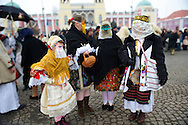 Hungarian wearing Sokácok costumes on the Tuesday procession of the Busojaras Spring  festival 2010 Mohacs Hungary - Stock photos .<br /> <br /> Visit our HUNGARY HISTORIC PLACES PHOTO COLLECTIONS for more photos to download or buy as wall art prints https://funkystock.photoshelter.com/gallery-collection/Pictures-Images-of-Hungary-Photos-of-Hungarian-Historic-Landmark-Sites/C0000Te8AnPgxjRg