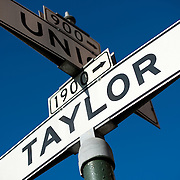A street sign for Taylor Street in San Francisco's North Beach neighborhood.