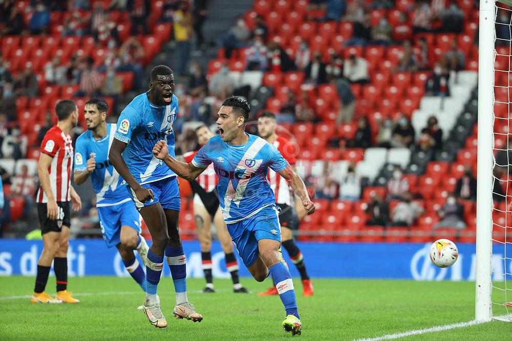 Radamel Falcao (Rayo Vallecano) celebrates his goal (1-2)<br /> <br /> La Liga round 6 2021 september 21th San Mames estadium<br /> Bibao Basque coutry Spain Bizkaia<br /> <br /> Atheltic Ckub de Bilbao Rayo Vallecano