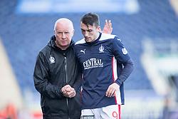 Falkirk's manager Peter Houston subs David Smith.<br /> Falkirk 1v 1 Dumbarton, Scottish Championship game played 20/9/2014 at The Falkirk Stadium .