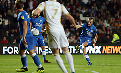 George Cooper of Peterborough United scores his sides first goal direct from a free-kick - Mandatory by-line: Joe Dent/JMP - 04/09/2018 - FOOTBALL - Stadium MK - Milton Keynes, England - Milton Keynes Dons v Peterborough United - Checkatrade Trophy
