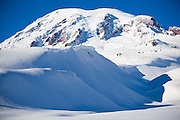 View of Mount Rainier in winter from above Paradise, Mount Rainier National Park, Washington.
