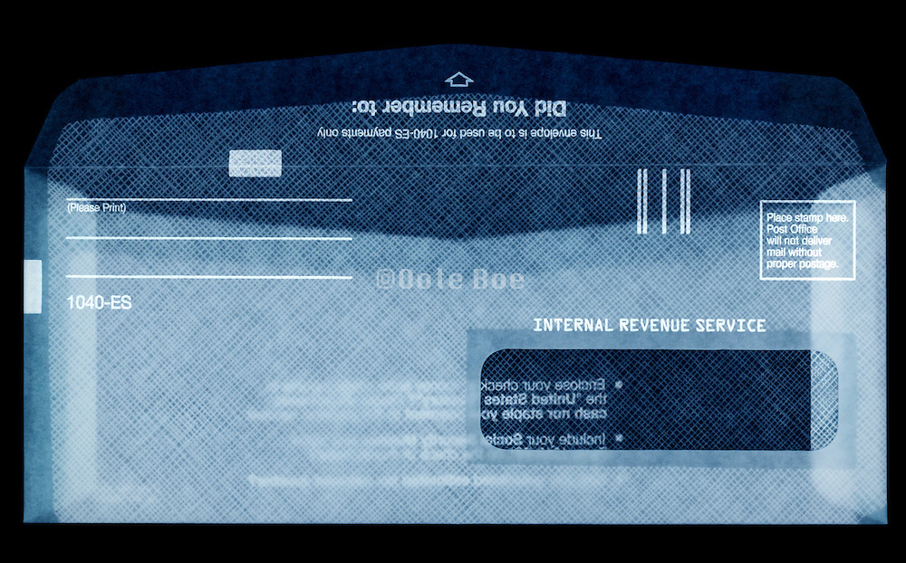 translucent view of an open USA Internal Revue Service envelope for estimated tax for Individuals