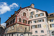 Stein am Rhein has a well-preserved medieval center with half-timbered houses and beautiful frescoes, in Schaffhausen Canton, Switzerland, Europe.