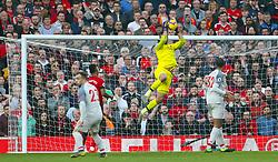 Liverpool goalkeeper Alisson Becker makes a save