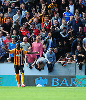 Hull City's Dame N'Doye reacts after his goal was ruled out<br /> <br /> Photographer Chris Vaughan/CameraSport<br /> <br /> Football - Barclays Premiership - Hull City v Manchester United - Sunday 24th May 2015 - Kingston Communications Stadium - Hull<br /> <br /> © CameraSport - 43 Linden Ave. Countesthorpe. Leicester. England. LE8 5PG - Tel: +44 (0) 116 277 4147 - admin@camerasport.com - www.camerasport.com