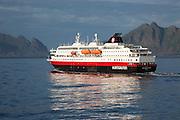 Hurtigruten Coastal Express ferry ship 'Richard With' at sea, Lofoten Islands, Nordland, Norway