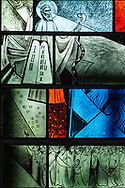 Stained glass depicting Moses on Mount Sinai and the Ten Commandments (Exodus 31:18) at Grace Lutheran Church on Tuesday, July 14, 2020, in St. Louis. LCMS Communications/Erik M. Lunsford