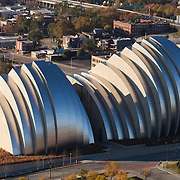 North facade of Kauffman Center for the Performing Arts in Kansas City, Missouri.