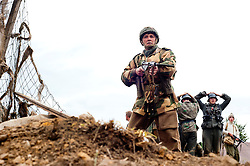 Members of the British 6th Airborne Division over run German positions during a Battle reenactment at the Ponderosa Wartime Weekend Heckmondwike.<br /> 10 June 2011<br /> Image Copyright Paul David Drabble