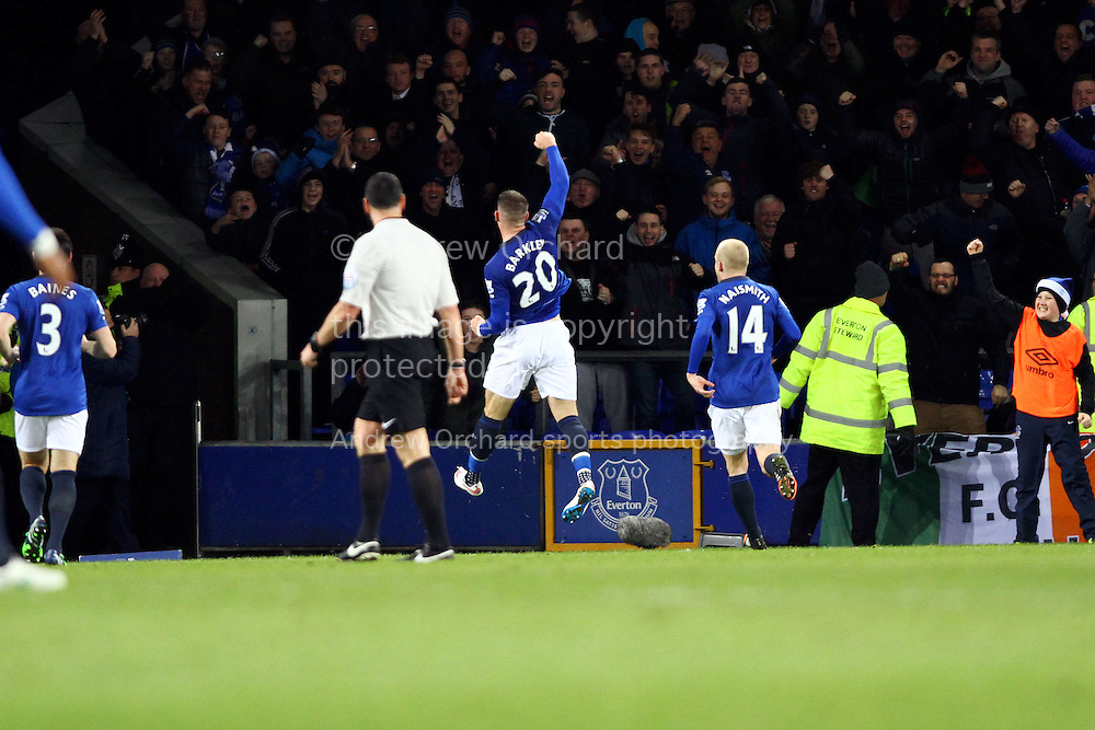 Ross Barkley of Everton celebrates after scoring his teams 1st goal. Barclays Premier league match, Everton v Queens Park Rangers at Goodison Park in Liverpool, Merseyside on Monday 15th December 2014.<br /> pic by Chris Stading, Andrew Orchard sports photography.