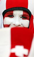 GEPA-1106086016 - BASEL,SCHWEIZ,11.JUN.08 - FUSSBALL - UEFA Europameisterschaft, EURO 2008, Schweiz vs Tuerkei, SUI vs TUR, Vorberichte. Bild zeigt einen Fan der Schweiz. <br />Foto: GEPA pictures/ Philipp Schalber