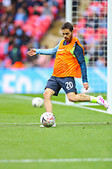 Manchester City midfielder Bernardo Silva (20) warms up during the The FA Cup semi-final match between Manchester City and Brighton and Hove Albion at Wembley Stadium, London, England on 6 April 2019.