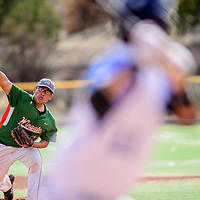 Wingate Bear Brandon Begay (24) releases a pitch to a Window Rock Scout during the Wingate Baseball Slam tournament at Ford Canyon Park in Gallup Friday.