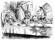 The Mad Hatter's Teaparty.  Illustration by John Tenn iel for 'Alice's Adventures in Wonderland' by Lewis Carroll (London, 1865).