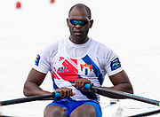 Poznan, POLAND, 21st June 2019, Friday, Morning Heats, CUB M1X, Angel FOURNIER RODRIGUEZ, FISA World Rowing Cup II, Malta Lake Course, © Peter SPURRIER/Intersport Images,<br /> <br /> 12:12:58