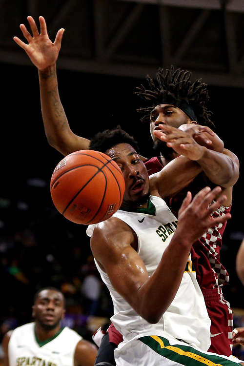 Mar 16, 2019; Norfolk, VA, USA; Norfolk State Spartans forward Alex Long (22) and Norfolk State Spartans guard BJ Fitzgerald (1) go for a rebound during the first half in the MEAC Tournament Final at The Scope. Mandatory Credit: Peter Casey-USA TODAY Sports