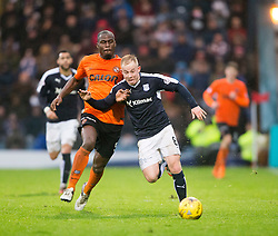 Dundee United's Guy Demel tackles Dundee's Nicky Low and gets a red card. <br /> Dundee 2 v 1  Dundee United, SPFL Ladbrokes Premiership game played 2/1/2016 at Dens Park.