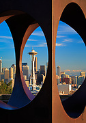 Seattle as seen through abstract sculpture in Kerry Park