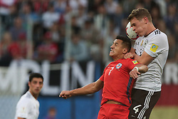 July 2, 2017 - Saint Petersburg, Russia - Alexis Sanchez (L) of the Chile national football team and Matthias Ginter of the Germanyl national football team vie for the ball during the 2017 FIFA Confederations Cup final match between Chile and Germany at Saint Petersburg Stadium on July 02, 2017 in St. Petersburg, Russia. (Credit Image: © Igor Russak/NurPhoto via ZUMA Press)