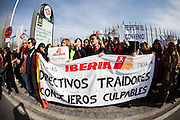 Spain's biggest airline Iberia workers  at the exhibition tourism Fair (FITUR) entrance  protesting against job cuts last january 30 in Madrid
