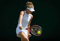 July 1, 2019 - London, GREAT BRITAIN - Viktorija Golubic of Switzerland in action during the first round of the 2019 Wimbledon Championships Grand Slam Tennis Tournament against Iga Swiatek of Poland (Credit Image: © AFP7 via ZUMA Wire)
